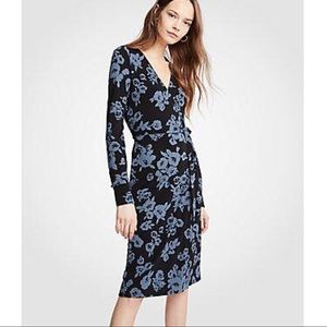 Ann Taylor Knit Wrap Floral Dress 12